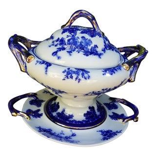 Flo Blue Vintage Extra Large Soup Tureen For Sale