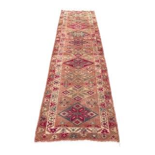 1960s Turkish Handwoven Wool Hallway Floor Runner Rug