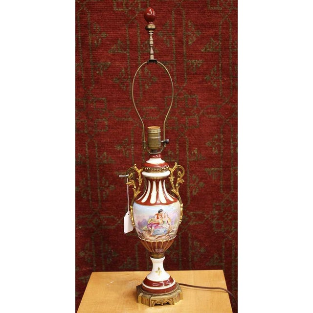 Traditional Hand Painted Sevres Porcelain Urn Form Table Lamp, Signed Maxant For Sale - Image 3 of 3