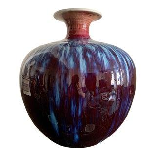 Early 20th Century Asian Oxblood Flambé Porcelain Vase, Signed For Sale