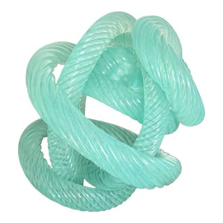 Turquoise Art Glass Rope Design Knot Object / Paperweight For Sale