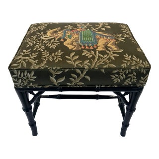 Vintage Faux Bamboo Bench Stool For Sale