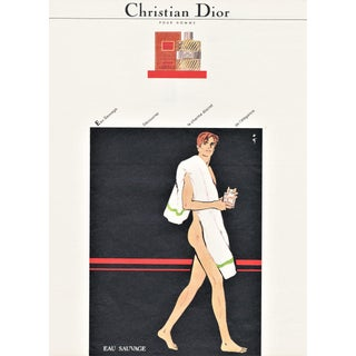 Matted Kitsch Mid-Century Dior Print for Men by Gruau For Sale