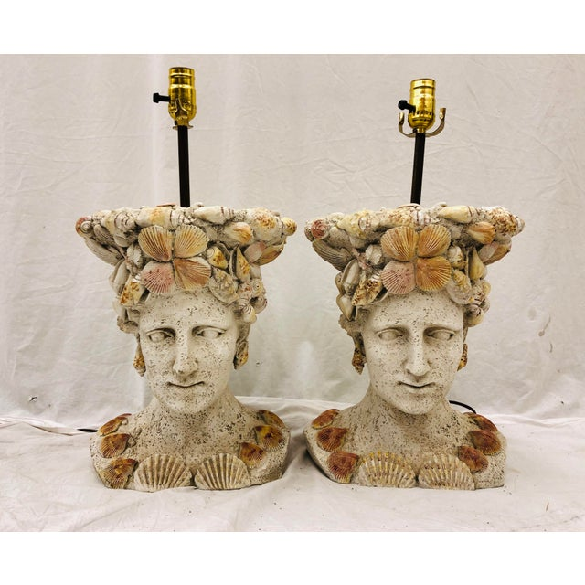 Pair Vintage Seashell Covered Bust Sculptural Lamps For Sale - Image 10 of 13