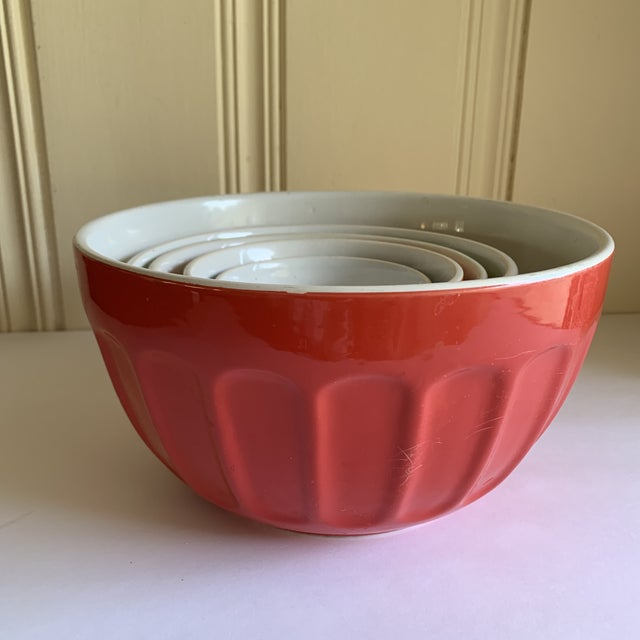 Colorful Set of Five Assorted Nesting Bowls For Sale - Image 4 of 10