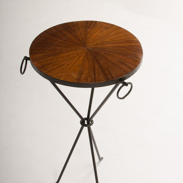Contemporary Contemporary Wrought Iron Drink Tables With Parquet Tops in the Manner of Jean-Michel Frank - a Pair For Sale - Image 3 of 8