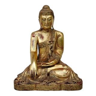 "Thai Seated Gilt Wood Buddha Sculpture in Bhumisparsha Mudra - 26"" Tall For Sale"