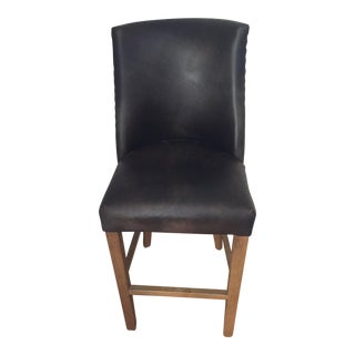1940s Vintage French Barrelback Distressed Leather Stool For Sale