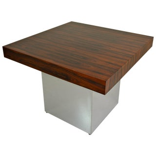 Rosewood and Chrome Table by Milo Baughman For Sale