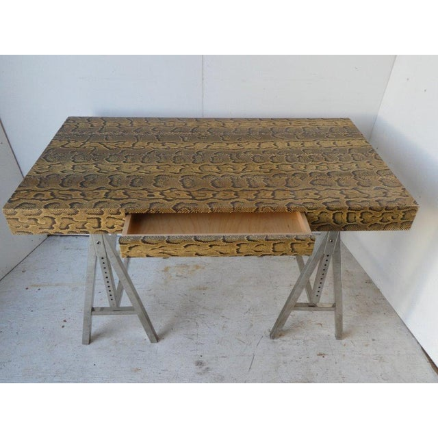 Late 20th Century Modern Snake Skin Writing Desk For Sale - Image 5 of 10