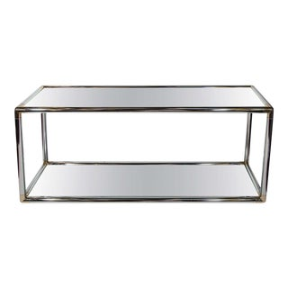 1970's Italian Mirrored and Chrome Two-Tier Console Table For Sale