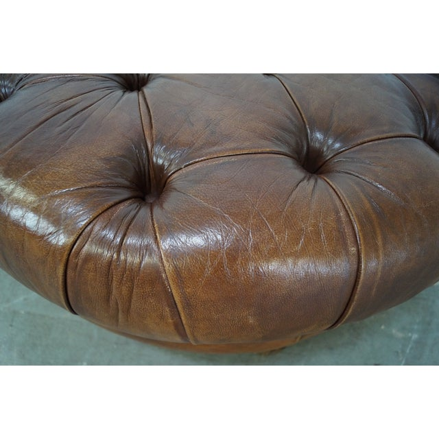 Quality Brown Tufted Leather Chesterfield Ottoman - Image 9 of 10