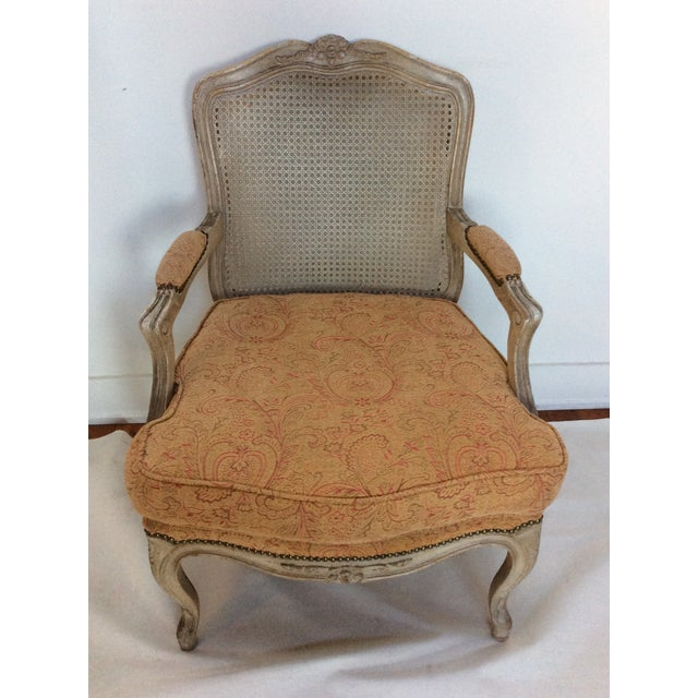 French Style Armchair With Caned Back For Sale - Image 4 of 6
