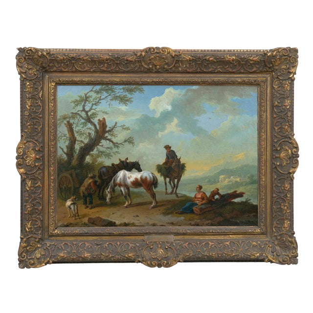 A vibrant and complex pair of Italianate landscape scenes of travelers resting on a bluff overlooking the valley and...