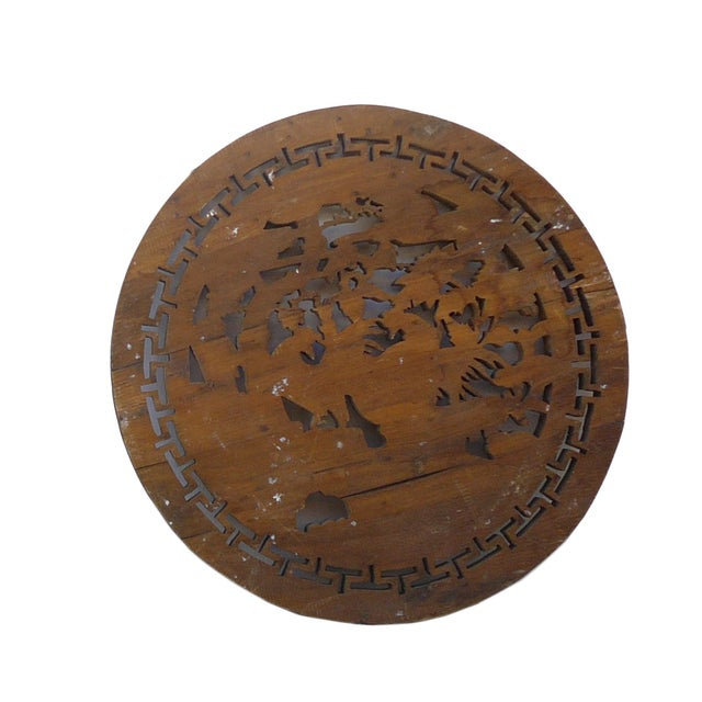 Chinese Vintage Round 3 Roosters Wall Plaque - Image 4 of 4