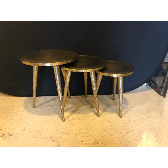 Moorish Style Brass Nesting Tables - Set of 3 For Sale - Image 4 of 13