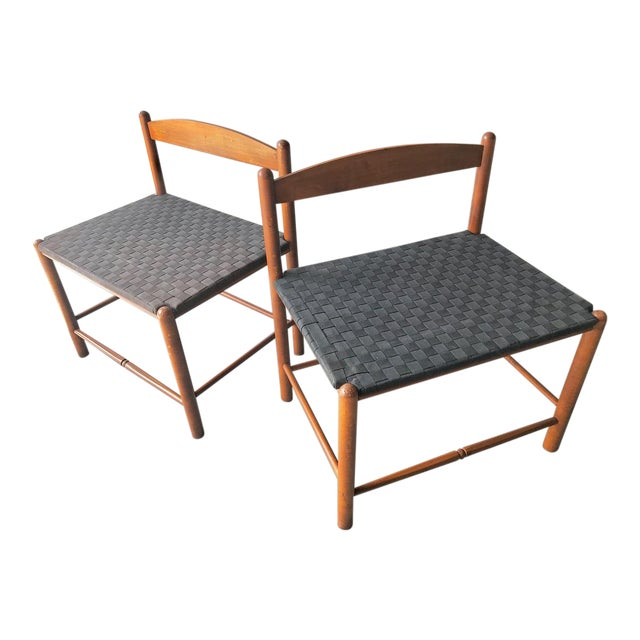 Danish Style Modern Woven Benches - a Pair For Sale