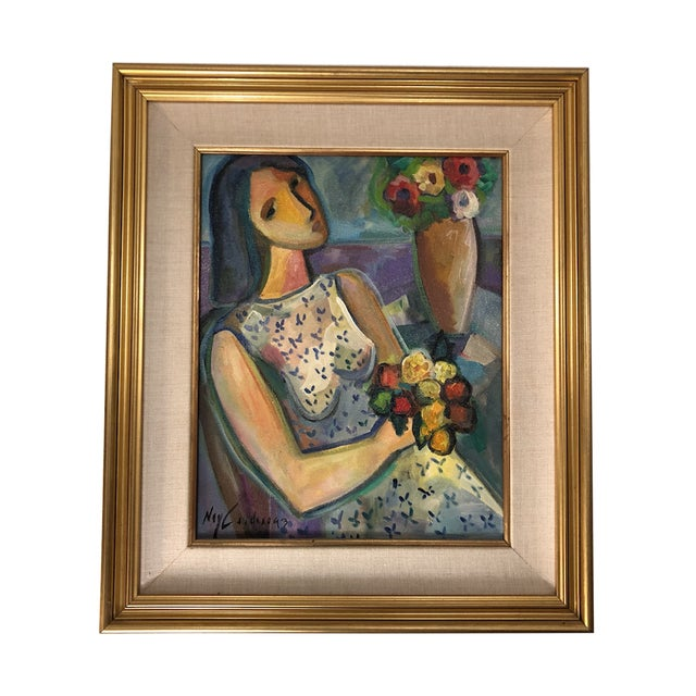 """Original Painting """"Girl With Flowers"""" Acrylic on Canvas by Ney Cardosa For Sale - Image 10 of 10"""