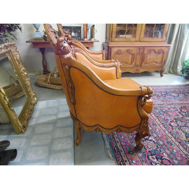 Art Nouveau 1930s Hand Carved Leather Chairs - Set of 4 For Sale - Image 3 of 9