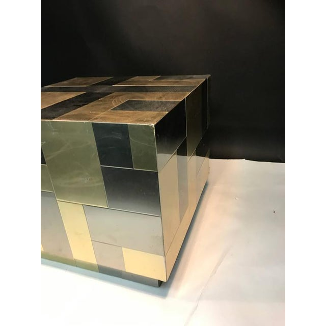 An unusual cube-shaped brass and chrome patchwork table by Paul Evans, circa 1970s. Good vintage condition with some...