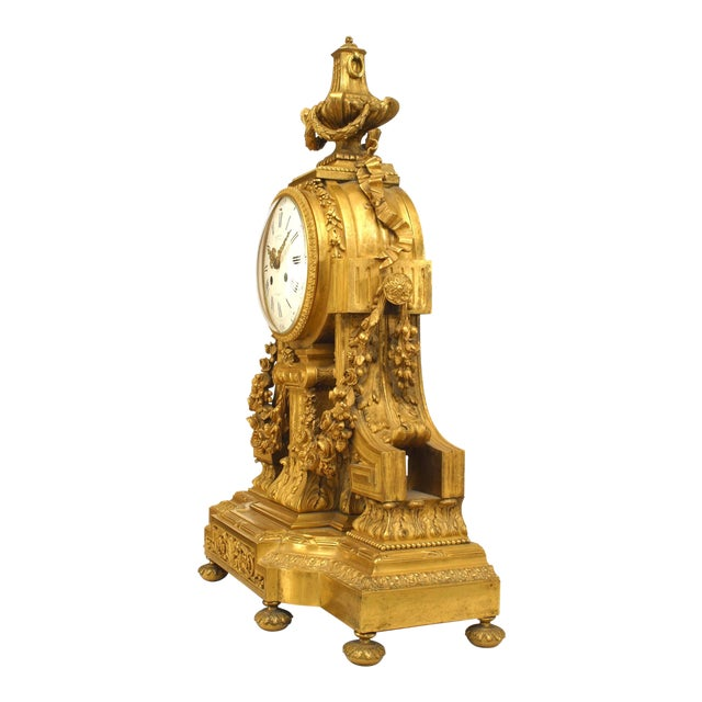French Louis XVI Style '19th Century' Gilt Bronze Mantle Clock For Sale