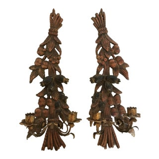 Carved Wood Italy Wall Candle Sconces - A Pair