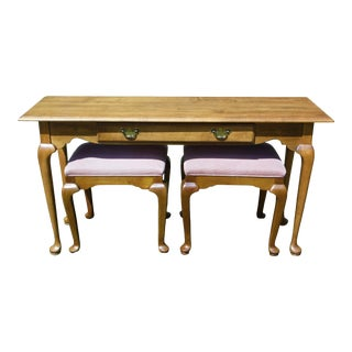 Vintage Ethan Allen Solid Maple Console Entry Sofa Table Matching Benches Stools For Sale