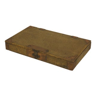 English Art Deco Large Rectangular Dark Yellow Shagreen Box For Sale