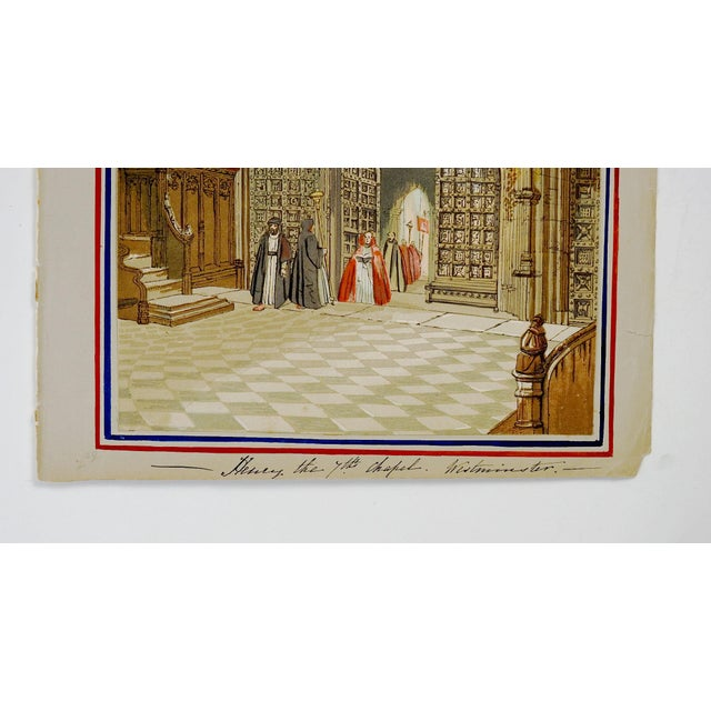 English Traditional Henry 7th Chapel at Westminster Print For Sale - Image 3 of 4