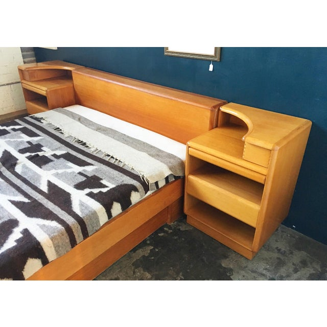 Mid-Century Brouer Platform Bed & Nightstands - Image 8 of 9
