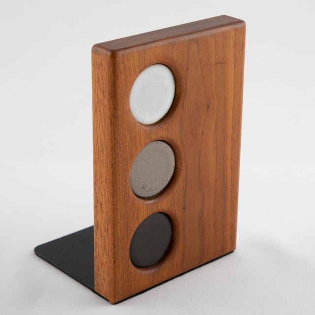 Black 1960s Ceramic and Walnut Bookends by Gordon and Jane Martz for Marshall Studios - a Pair For Sale - Image 8 of 12
