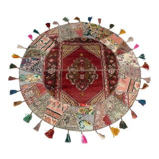 Turkish Handmade Patchwork Round Area Rug - 5' x 5' For Sale