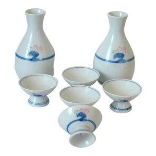 Arita Sakazuki Porcelain Sake Cups and Bottles - Set of 7 For Sale