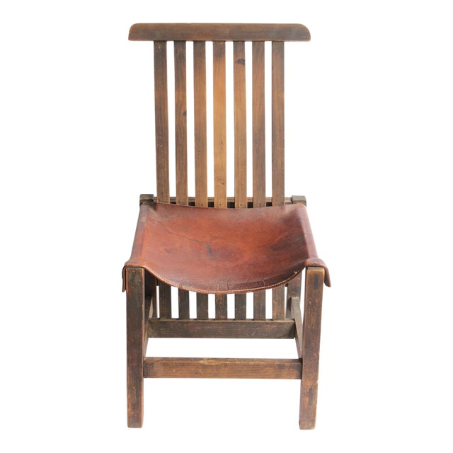 Antique Leather and Oak Accent Chair - Image 1 of 5