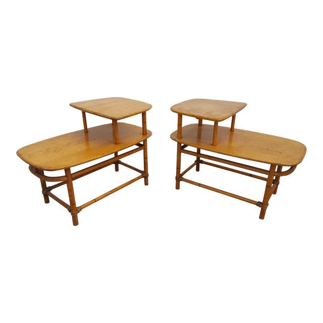 Heywood - Wakefield Two Tier Side Tables a Pair For Sale