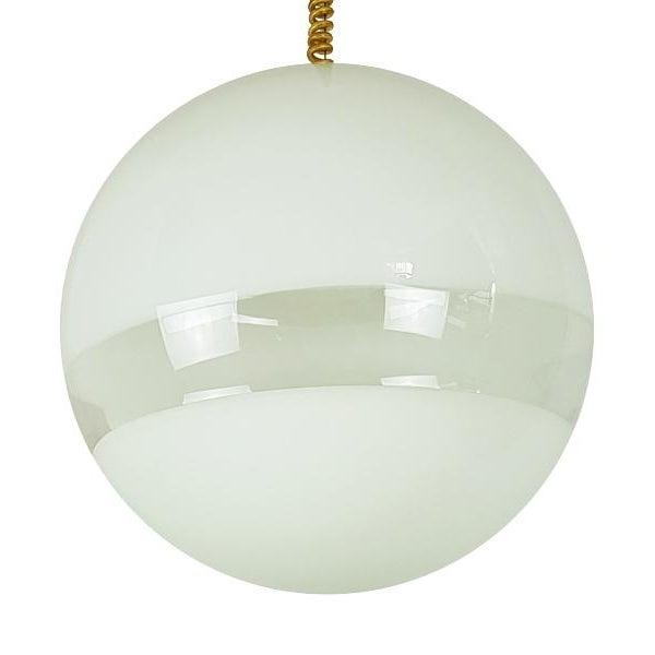 Italian 1960s Mid Century Modern Italian White Murano Glass Pendant Light For Sale - Image 3 of 6