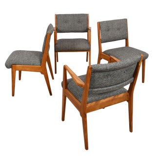 Set of 4 (2 Arm + 2 Side) Jens Risom Dining Chairs For Sale