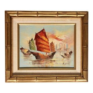 Vintage Coastal Nautical Sailboat Oil Painting For Sale