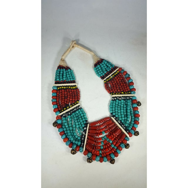 African Gorgeous Multi-Strand Necklace With Button Closure and Bone Inserts For Sale - Image 3 of 3
