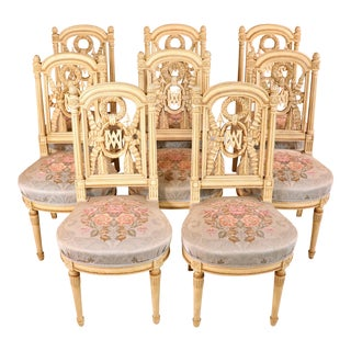 Set of Eight Louis XVI Style Chairs Attributed to Maison Jansen For Sale