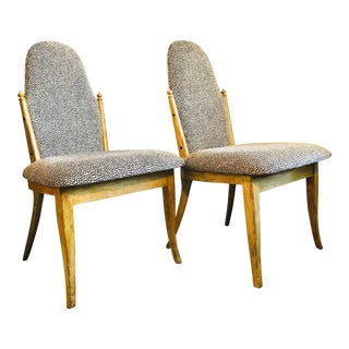 Contemporary Moorish Style Painted Wood Side Chairs - a Pair For Sale