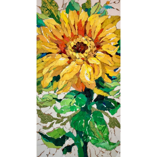 "This paper painting collage is entitled ""Sunflower II"". The work is composed of hand-painted paper painted with acrylics,..."
