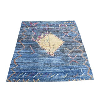 "Hand Made Moroccan Blue Wool Rug - 7'9""x9'7"""