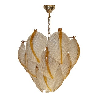 1970s Mid-Century Murano Glass Leafs Chandelier For Sale