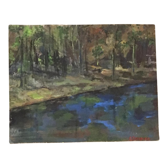 """This is a signed original acrylic on vintage Masonite entitled """"Sleepy Pond"""" by Christine Carapico. The artist painted..."""