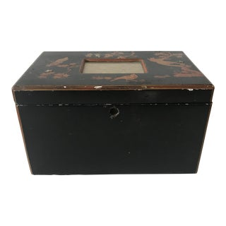 Japanese Black Lacquered Tea Caddy For Sale