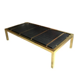 Mid Century Modern Black and Brass Rectangular Leather or Shagreen Coffee Table 20th Century in the Manner of Karl Springer For Sale