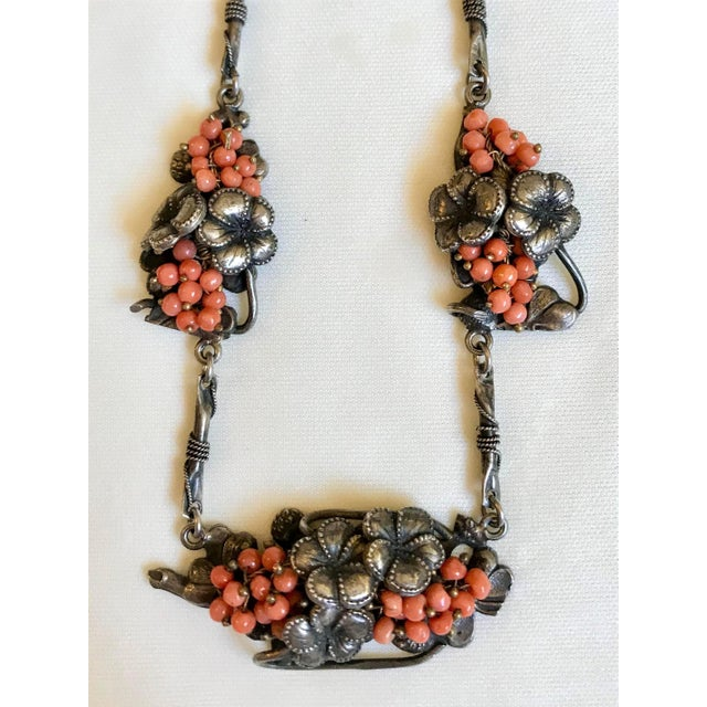 1930s 1930s Sterling and Coral Necklace For Sale - Image 5 of 7