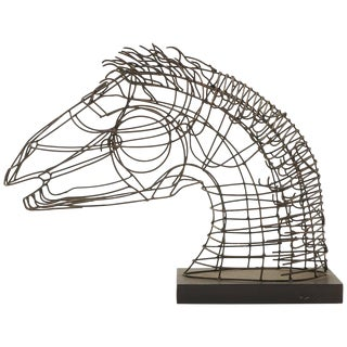 Wire Table Top Horse Sculpture Mounted on a Wood Base For Sale