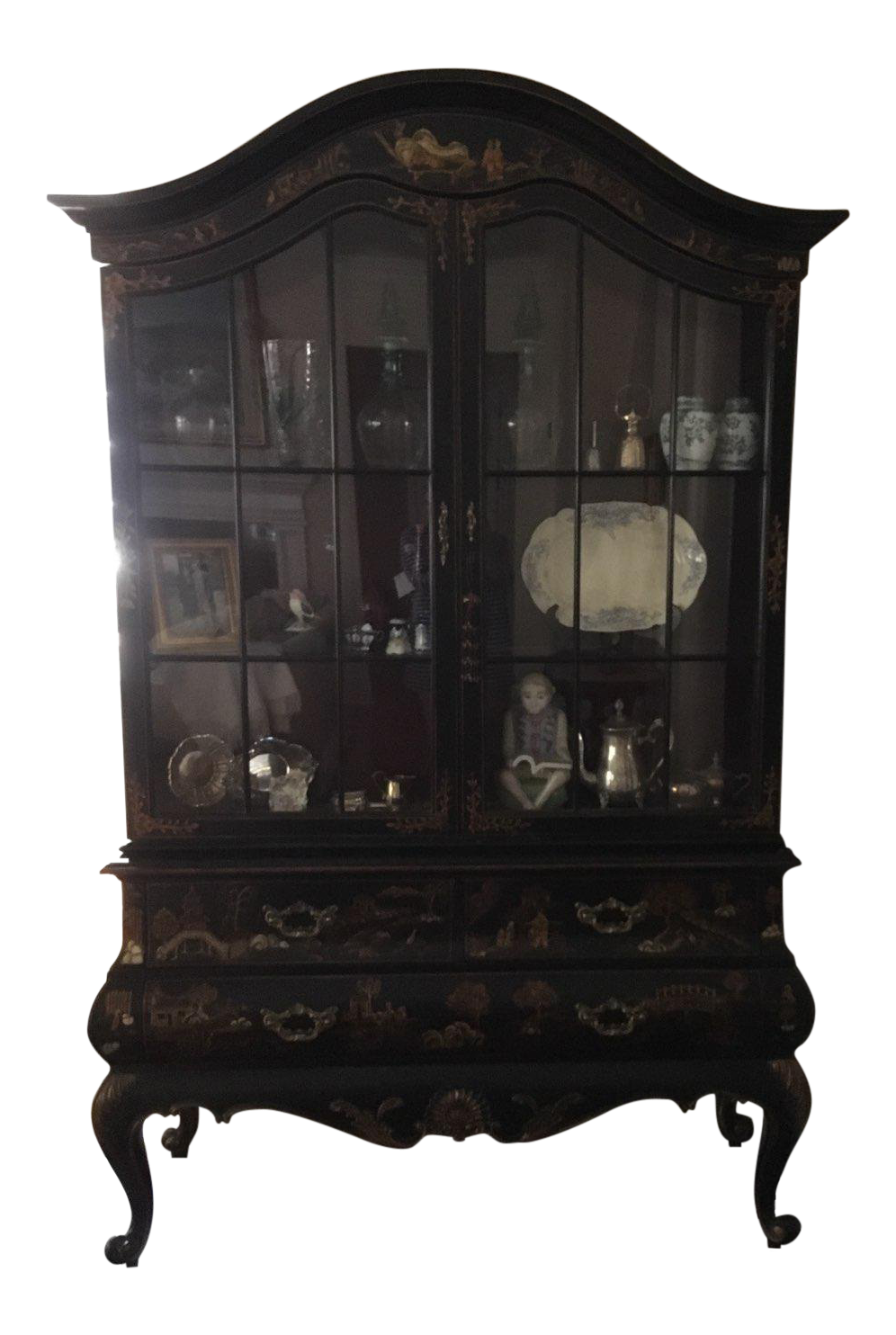 Maitland Smith Chinoiserie Display Cabinet For Sale